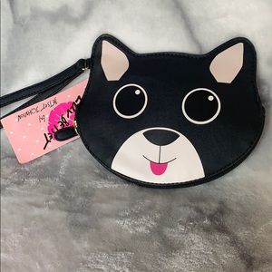 Betsey Johnson cat dog wallet clutch purse black